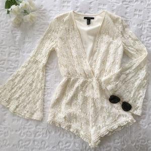 Forever 21 Medium white lace romper w/bell sleeves